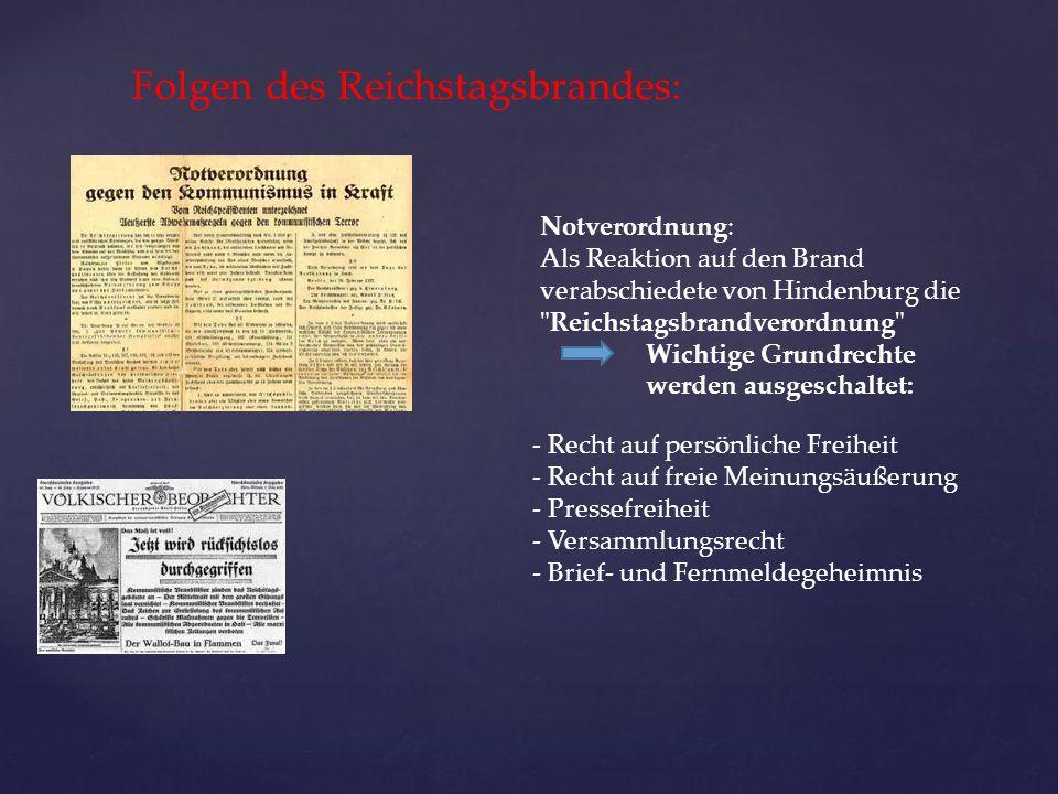 Folgen des Reichstagsbrandes: