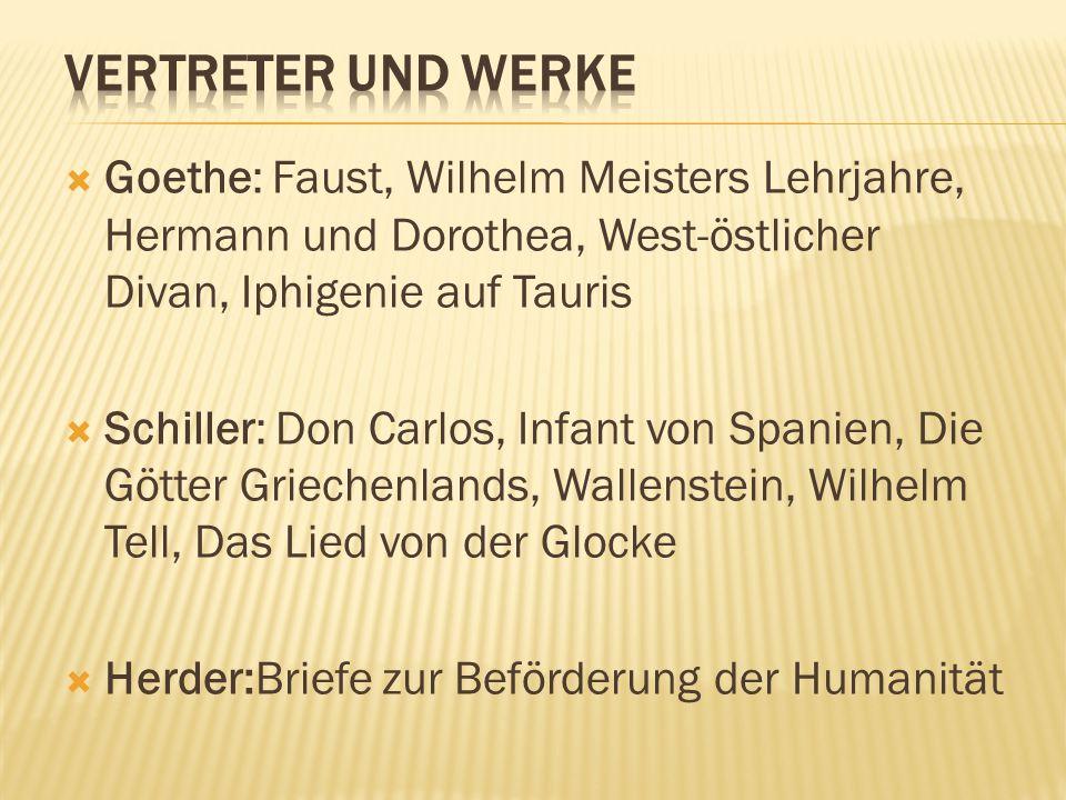 Vertreter und Werke Goethe: Faust, Wilhelm Meisters Lehrjahre, Hermann und Dorothea, West-östlicher Divan, Iphigenie auf Tauris.