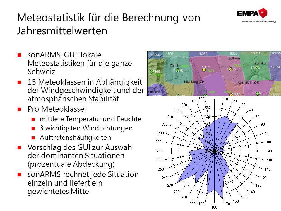 Meteostatistik für die Berechnung von Jahresmittelwerten