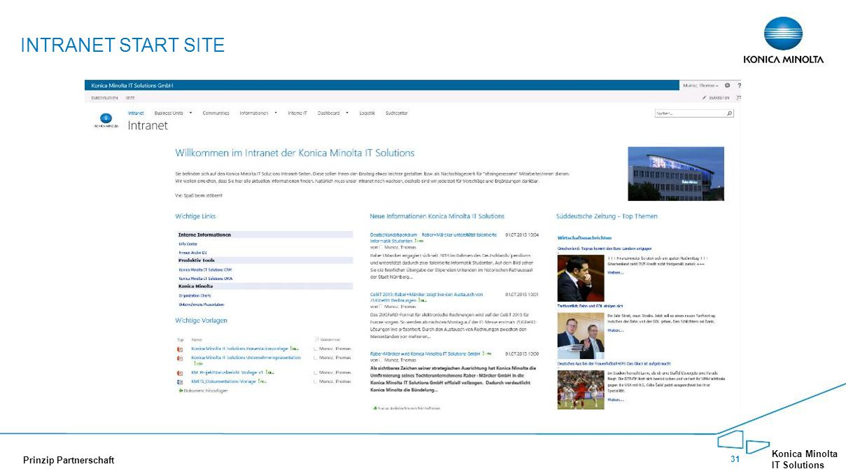 Intranet Start Site