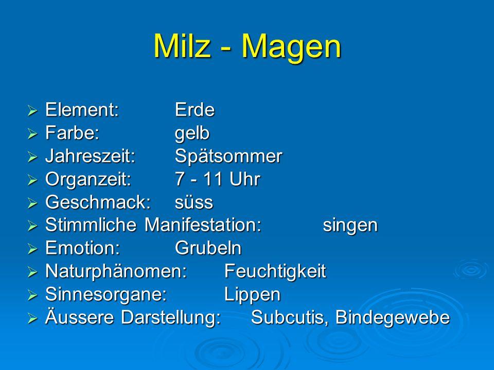 Milz - Magen Element: Erde Farbe: gelb Jahreszeit: Spätsommer