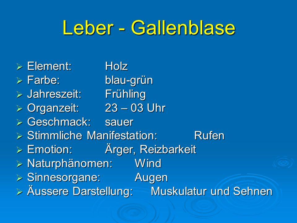Leber - Gallenblase Element: Holz Farbe: blau-grün
