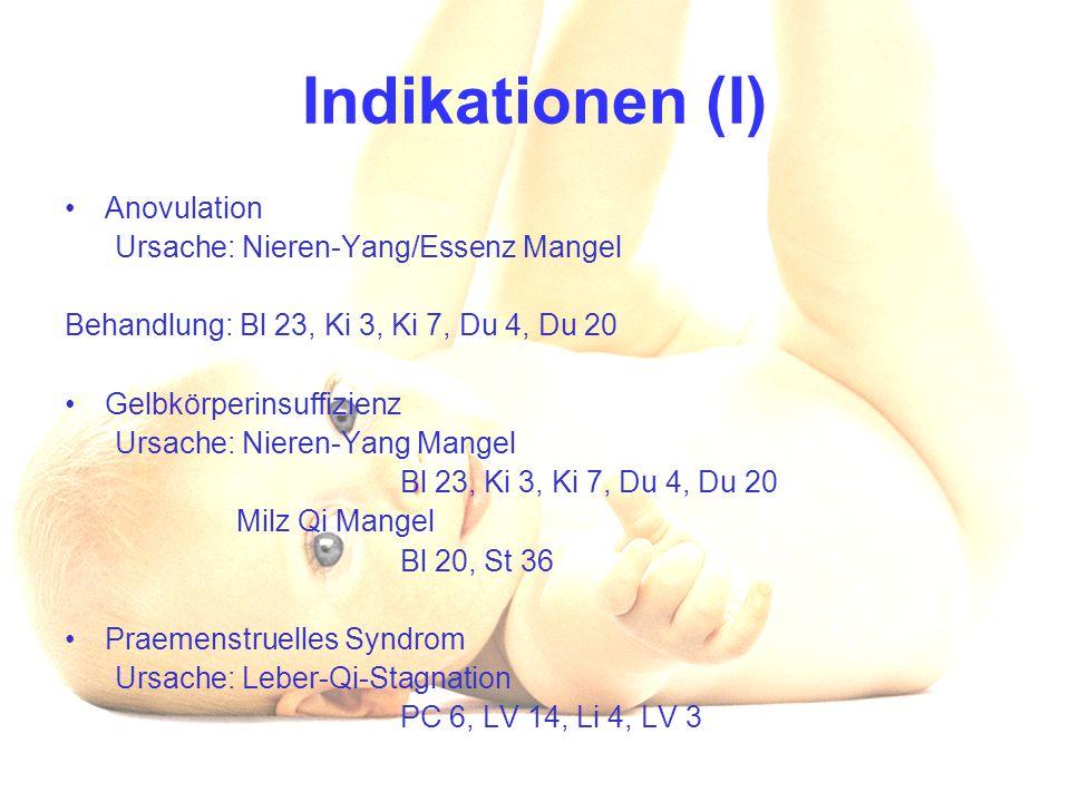Indikationen (I) Anovulation Ursache: Nieren-Yang/Essenz Mangel