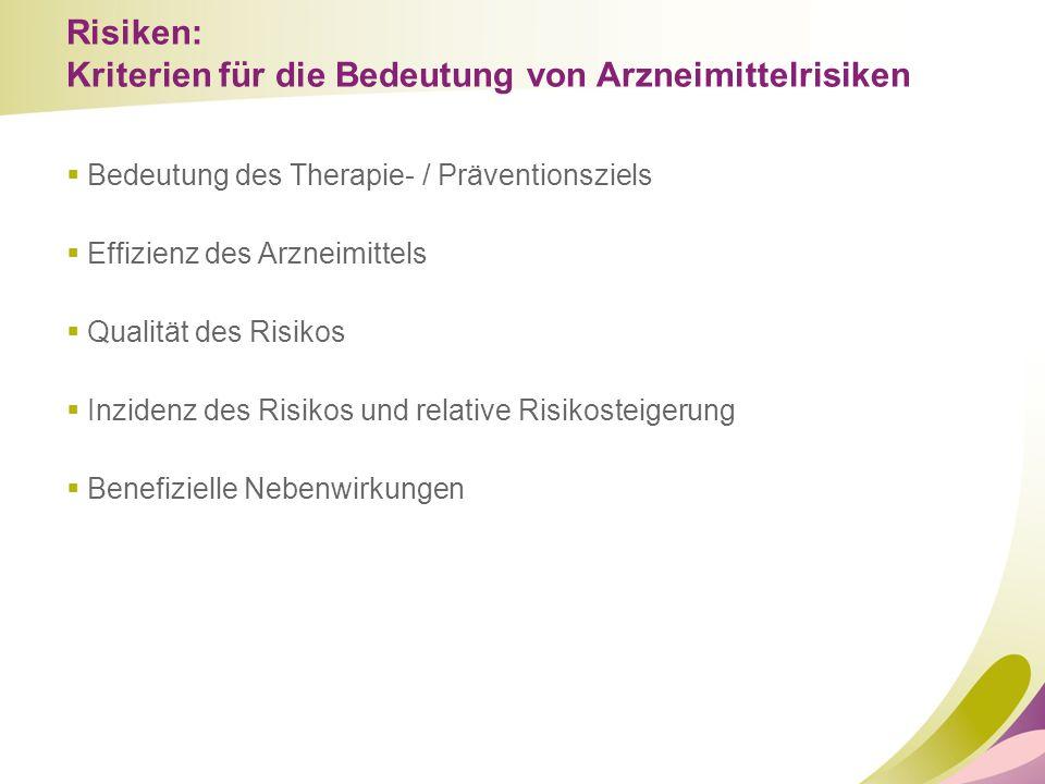 Risiken: Kriterien für die Bedeutung von Arzneimittelrisiken