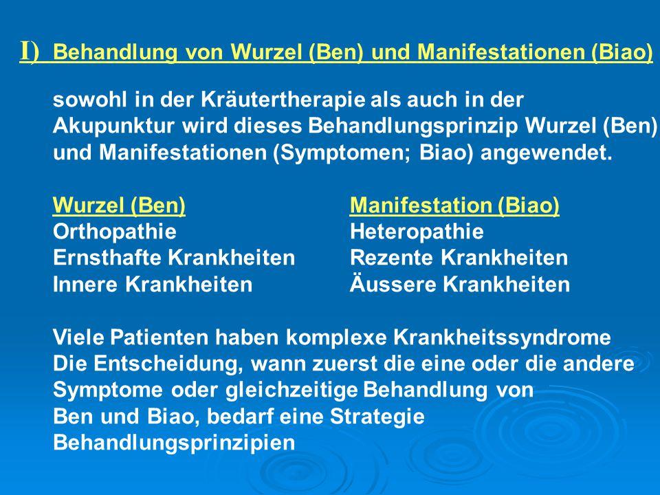 I) Behandlung von Wurzel (Ben) und Manifestationen (Biao)