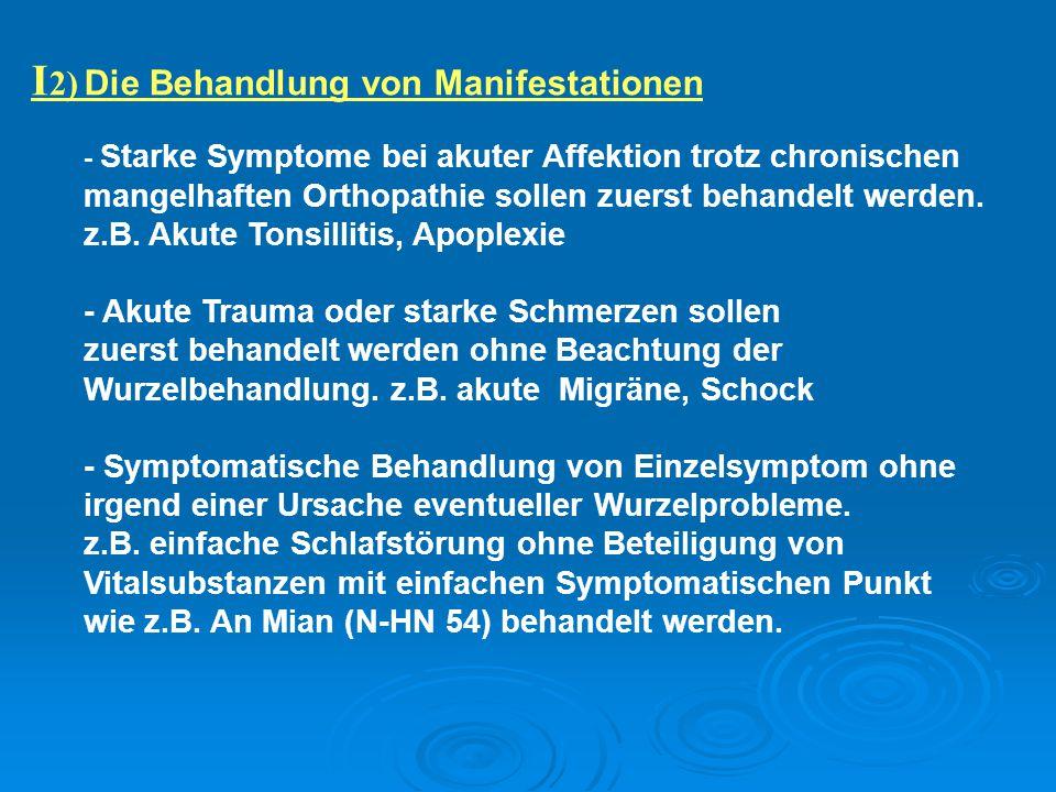 I2) Die Behandlung von Manifestationen
