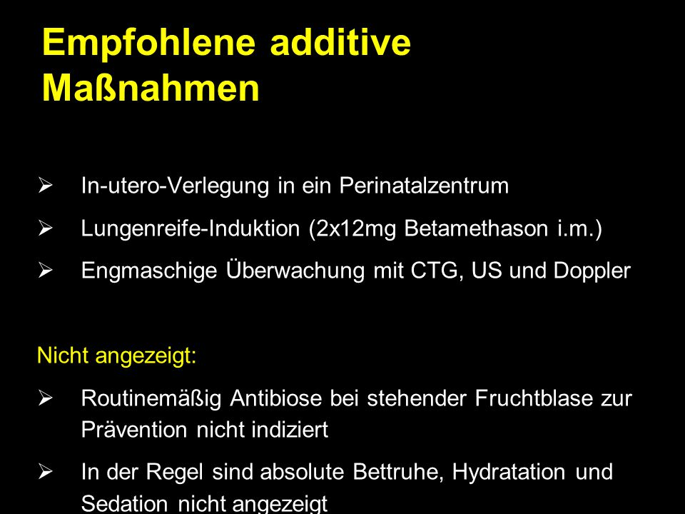 Empfohlene additive Maßnahmen