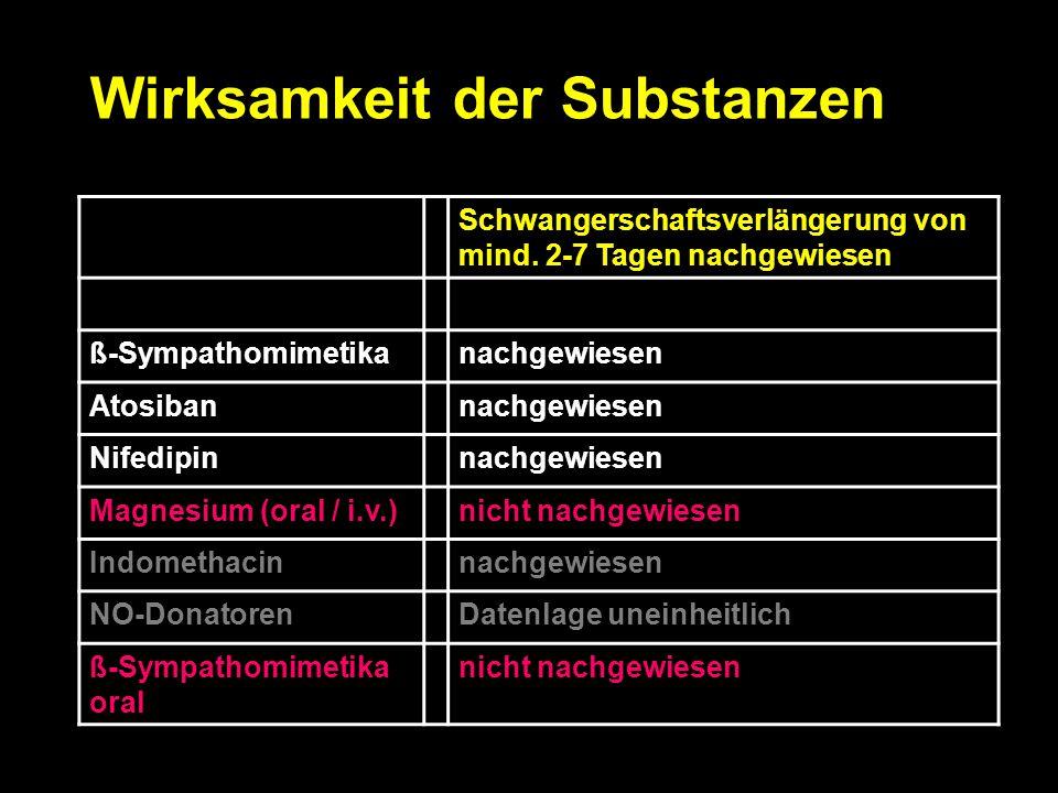 Wirksamkeit der Substanzen