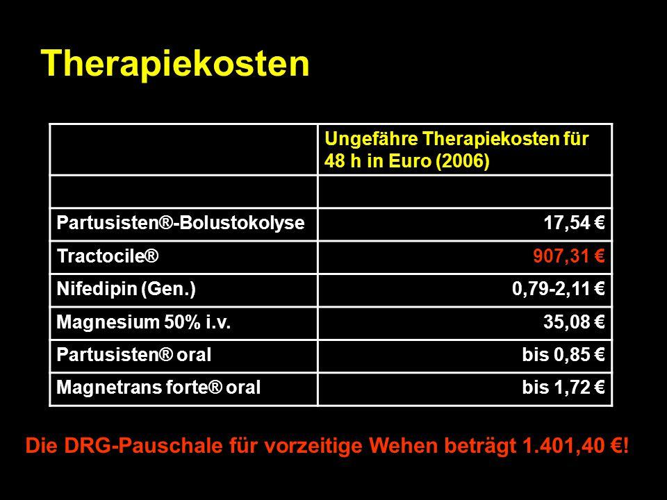 Therapiekosten Ungefähre Therapiekosten für 48 h in Euro (2006) Partusisten®-Bolustokolyse. 17,54 €