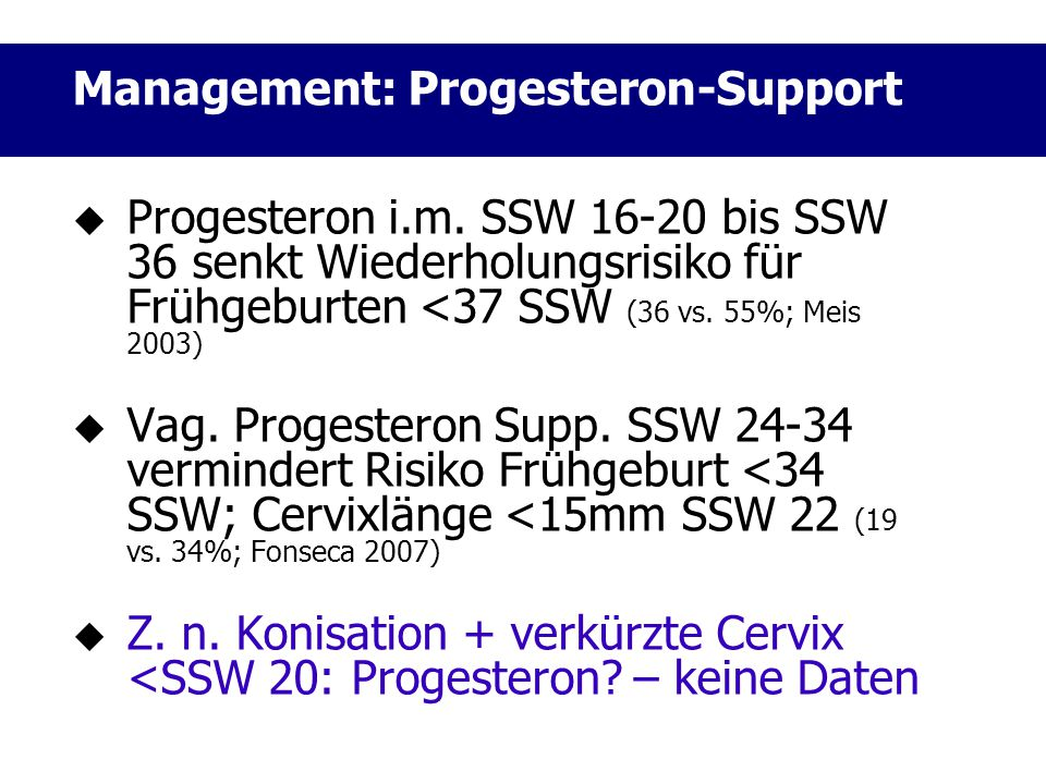 Management: Progesteron-Support