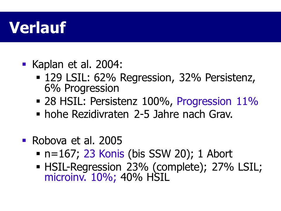Verlauf Kaplan et al. 2004: 129 LSIL: 62% Regression, 32% Persistenz, 6% Progression 28 HSIL: Persistenz 100%, Progression 11%