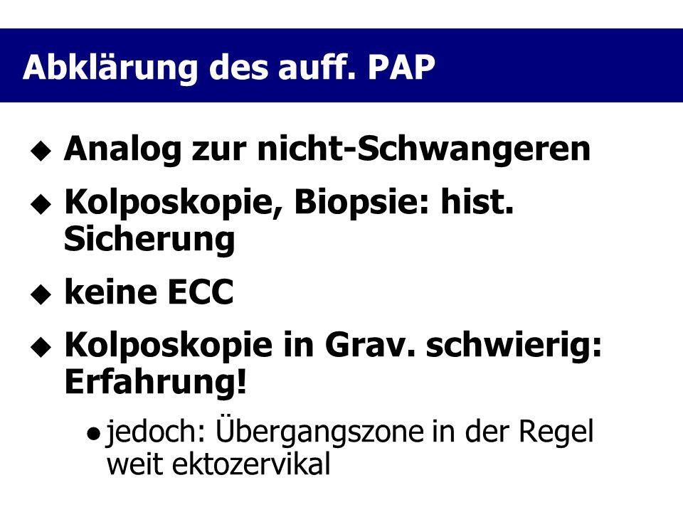 Analog zur nicht-Schwangeren Kolposkopie, Biopsie: hist. Sicherung