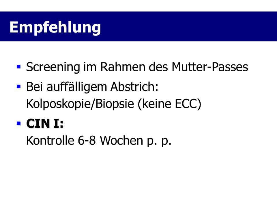 Empfehlung Screening im Rahmen des Mutter-Passes