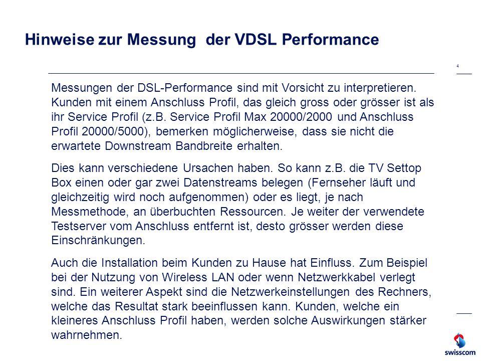 Hinweise zur Messung der VDSL Performance