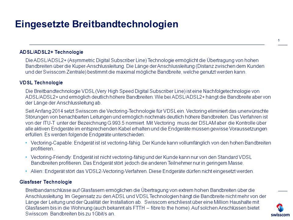 Eingesetzte Breitbandtechnologien