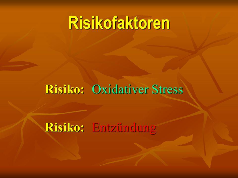 Risikofaktoren Risiko: Oxidativer Stress Risiko: Entzündung