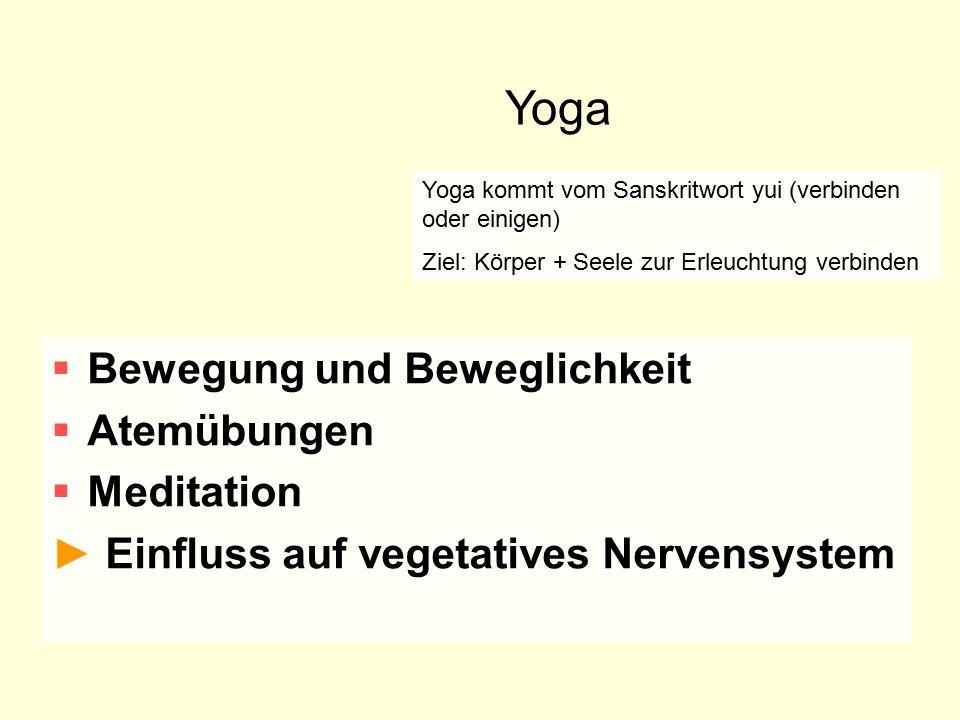 Yoga Bewegung und Beweglichkeit Atemübungen Meditation