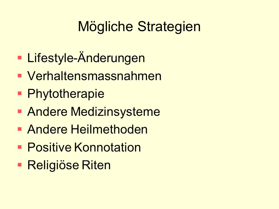 Mögliche Strategien Lifestyle-Änderungen Verhaltensmassnahmen