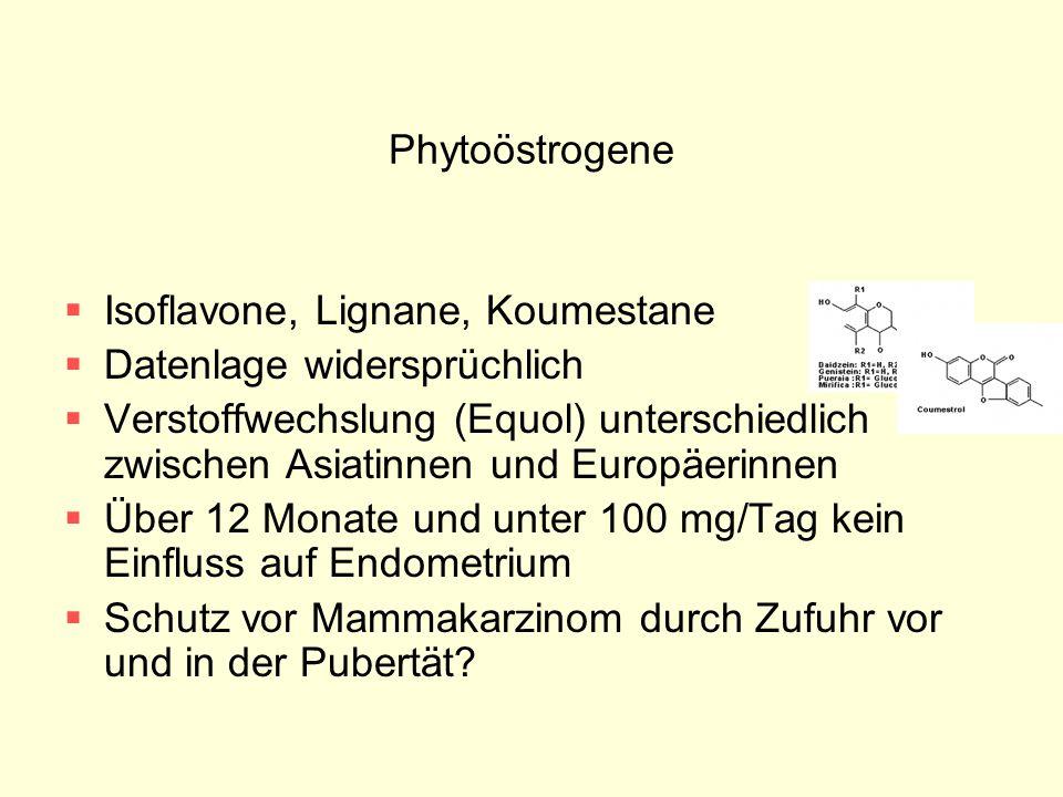 Phytoöstrogene Isoflavone, Lignane, Koumestane. Datenlage widersprüchlich.