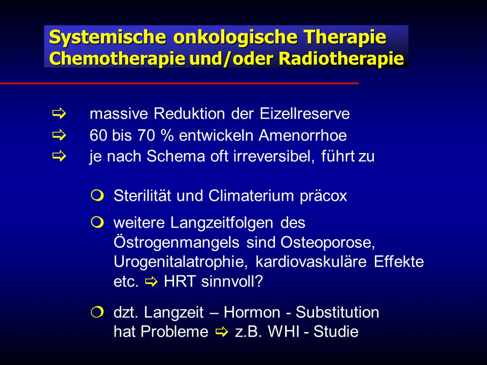 Systemische onkologische Therapie Chemotherapie und/oder Radiotherapie