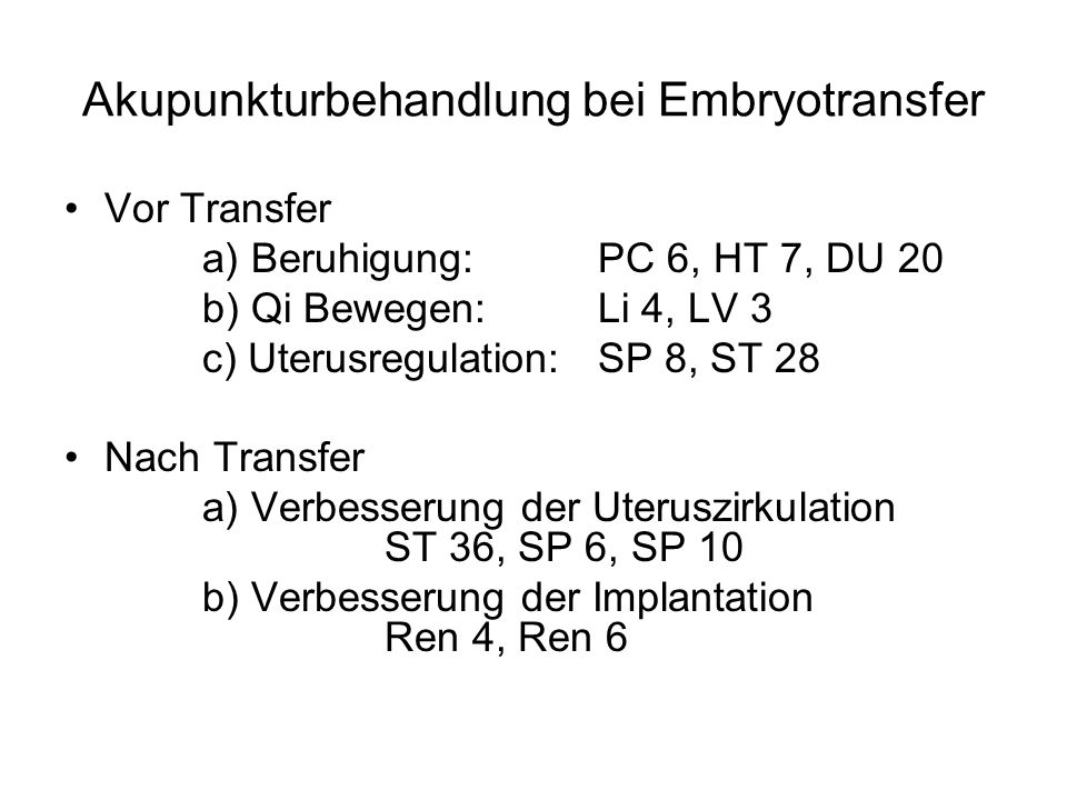 Akupunkturbehandlung bei Embryotransfer