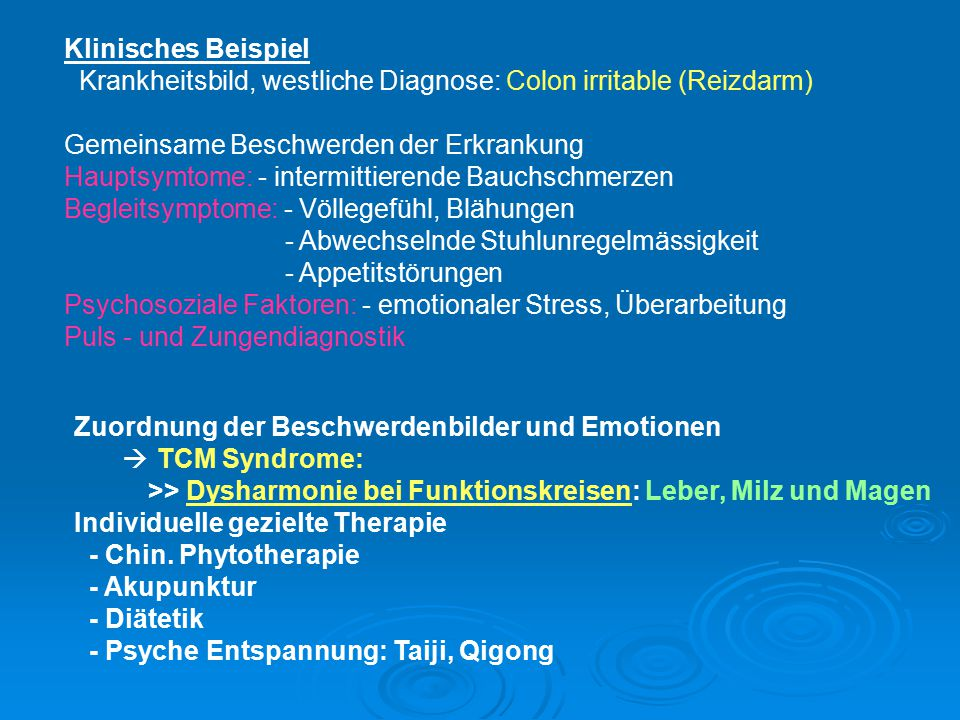 Klinisches Beispiel Krankheitsbild, westliche Diagnose: Colon irritable (Reizdarm) Gemeinsame Beschwerden der Erkrankung.
