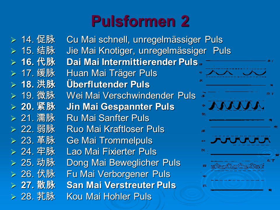 Pulsformen 2 14. 促脉 Cu Mai schnell, unregelmässiger Puls