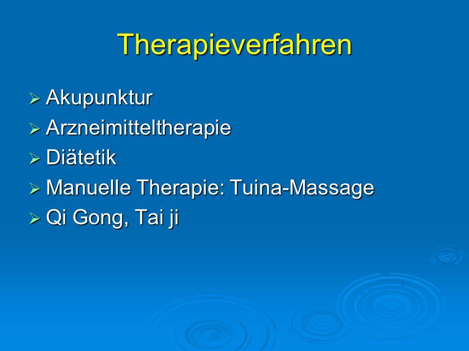 Therapieverfahren Akupunktur Arzneimitteltherapie Diätetik