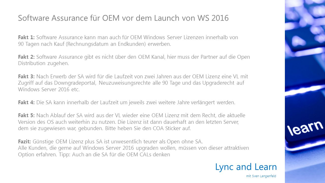 Lync and Learn Software Assurance für OEM vor dem Launch von WS 2016