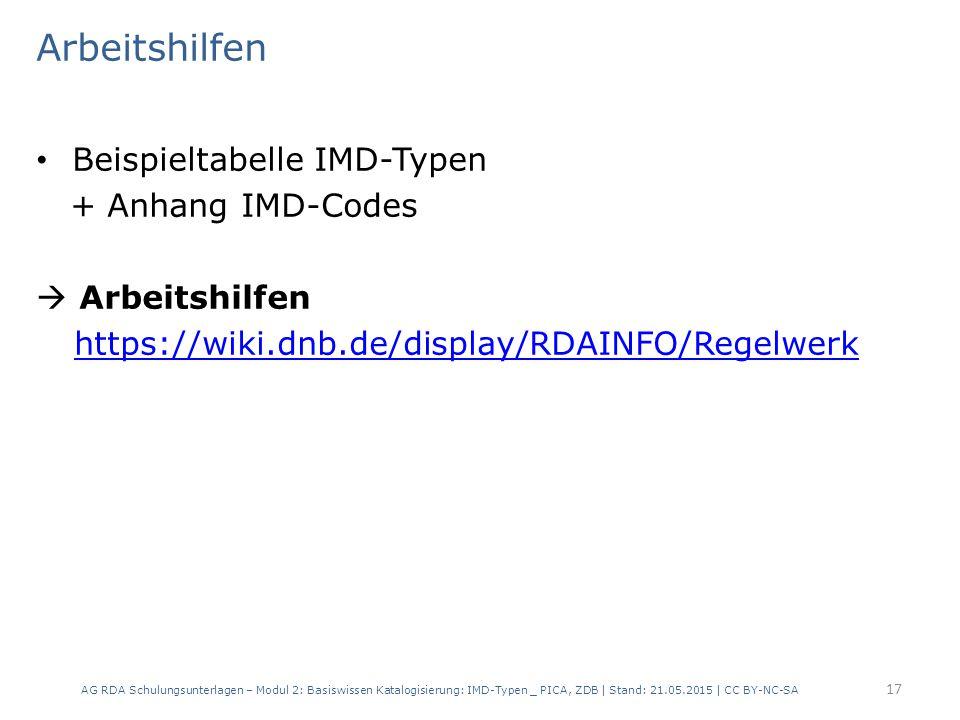 Arbeitshilfen Beispieltabelle IMD-Typen + Anhang IMD-Codes