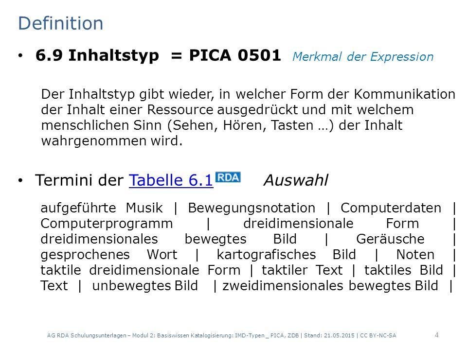 Definition 6.9 Inhaltstyp = PICA 0501 Merkmal der Expression
