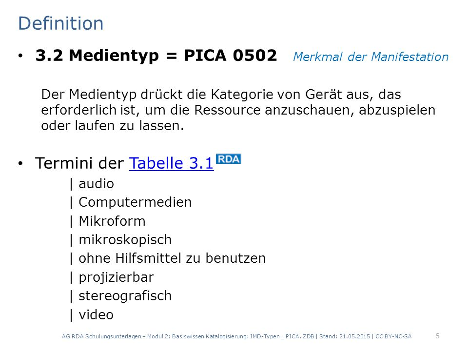 Definition 3.2 Medientyp = PICA 0502 Merkmal der Manifestation