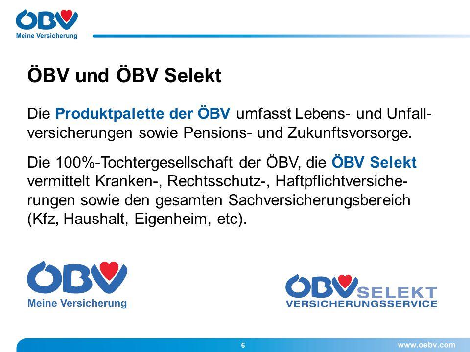 ÖBV und ÖBV Selekt Die Produktpalette der ÖBV umfasst Lebens- und Unfall- versicherungen sowie Pensions- und Zukunftsvorsorge.