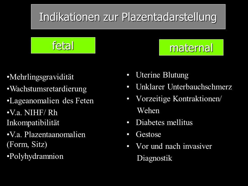 Indikationen zur Plazentadarstellung