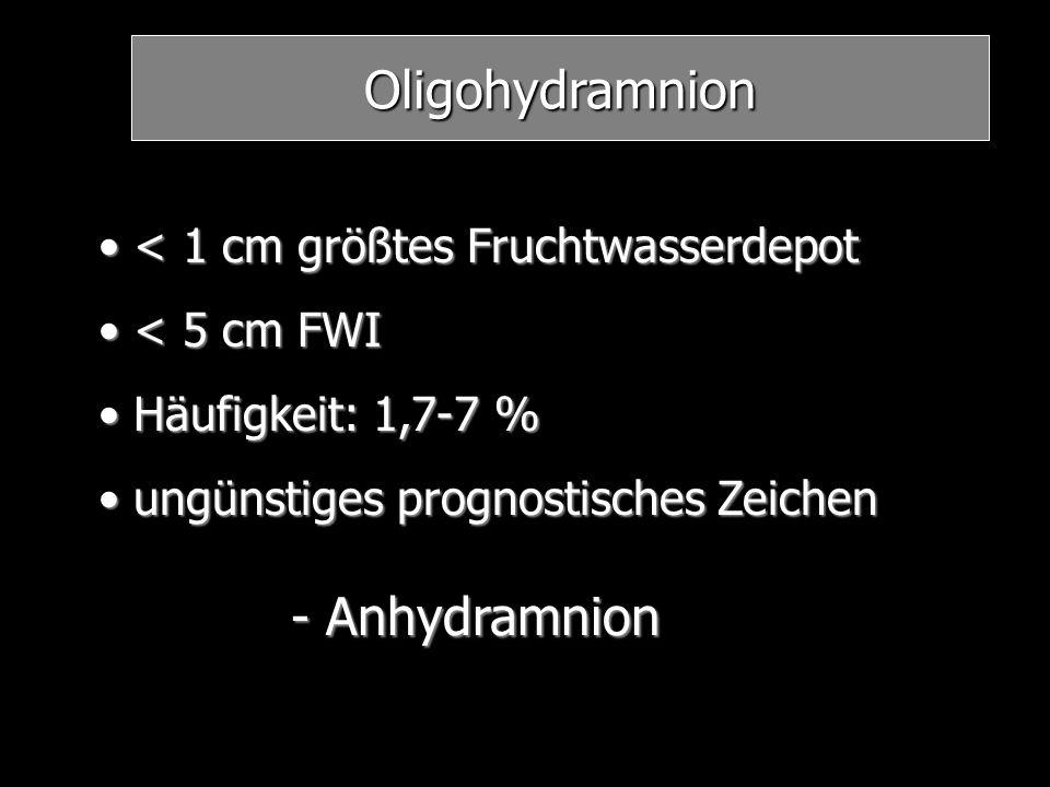 Oligohydramnion - Anhydramnion < 1 cm größtes Fruchtwasserdepot