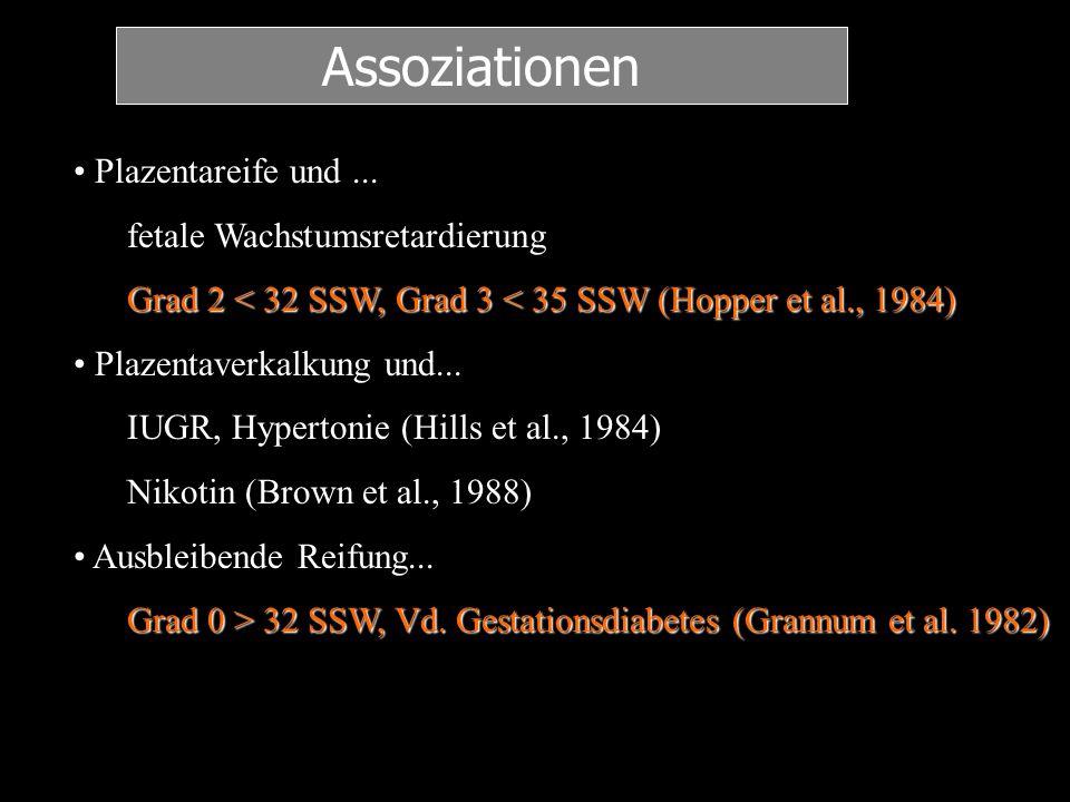Assoziationen Plazentareife und ... fetale Wachstumsretardierung