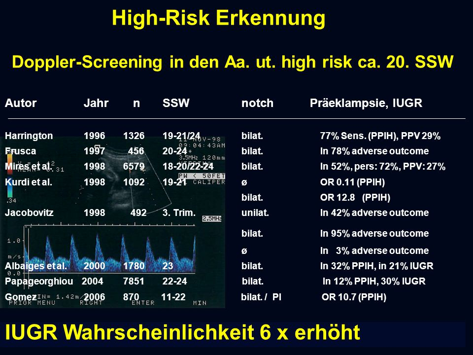 Doppler-Screening in den Aa. ut. high risk ca. 20. SSW
