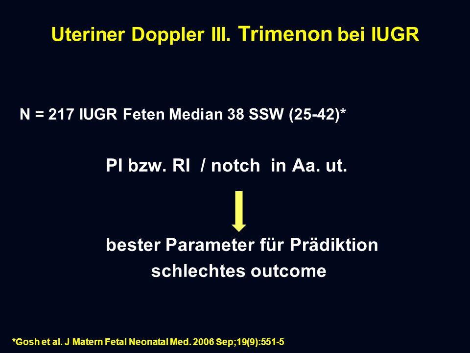 Uteriner Doppler III. Trimenon bei IUGR