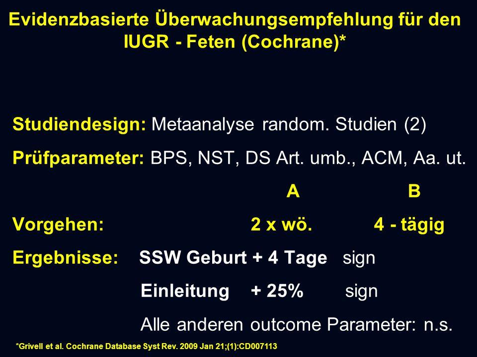 Evidenzbasierte Überwachungsempfehlung für den IUGR - Feten (Cochrane)*