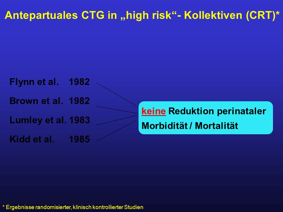 "Antepartuales CTG in ""high risk - Kollektiven (CRT)*"