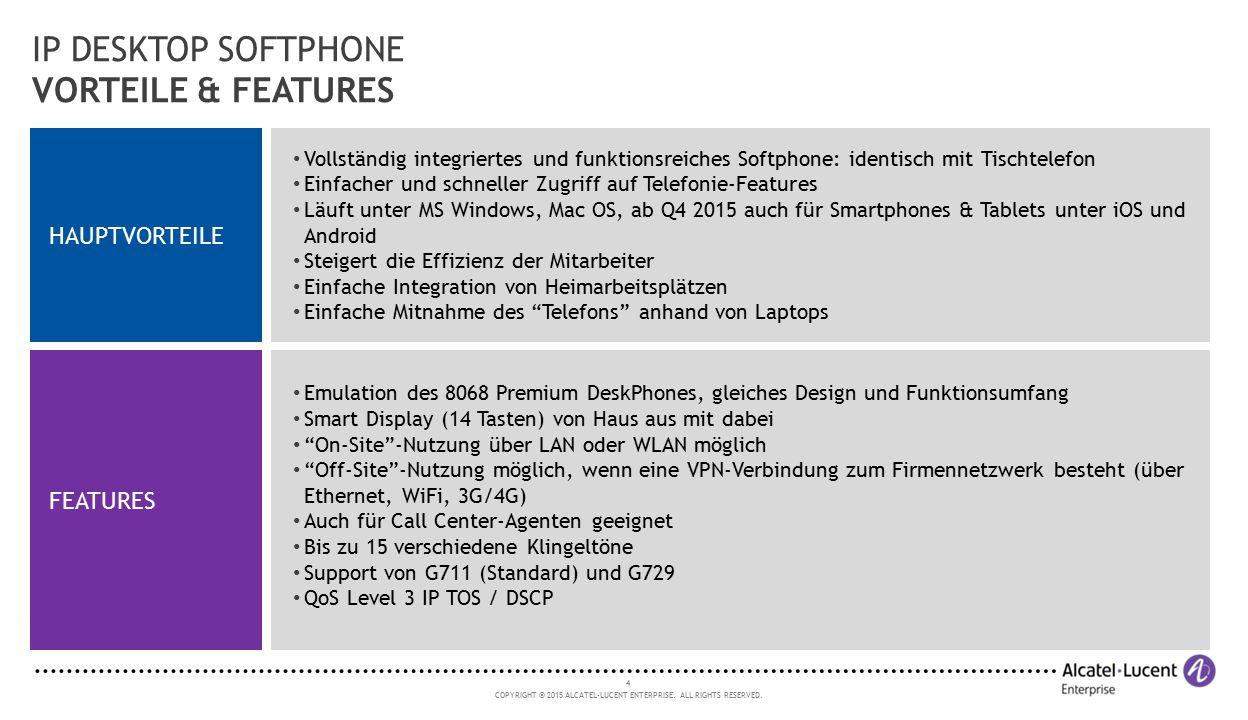 IP DESKTOP SOFTPHONE VORTEILE & FEATURES