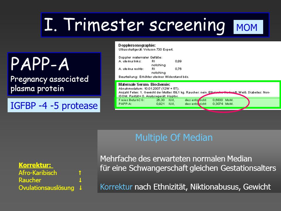 I. Trimester screening PAPP-A MOM IGFBP -4 -5 protease