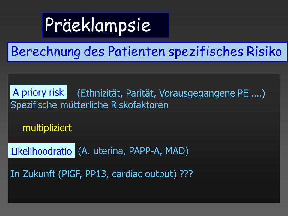 Präeklampsie Berechnung des Patienten spezifisches Risiko