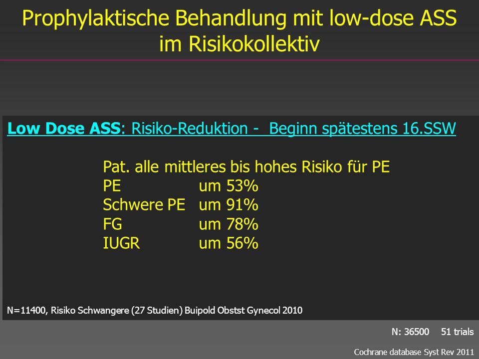 Prophylaktische Behandlung mit low-dose ASS im Risikokollektiv