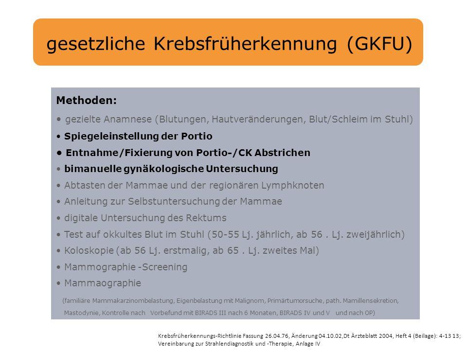 gesetzliche Krebsfrüherkennung (GKFU)