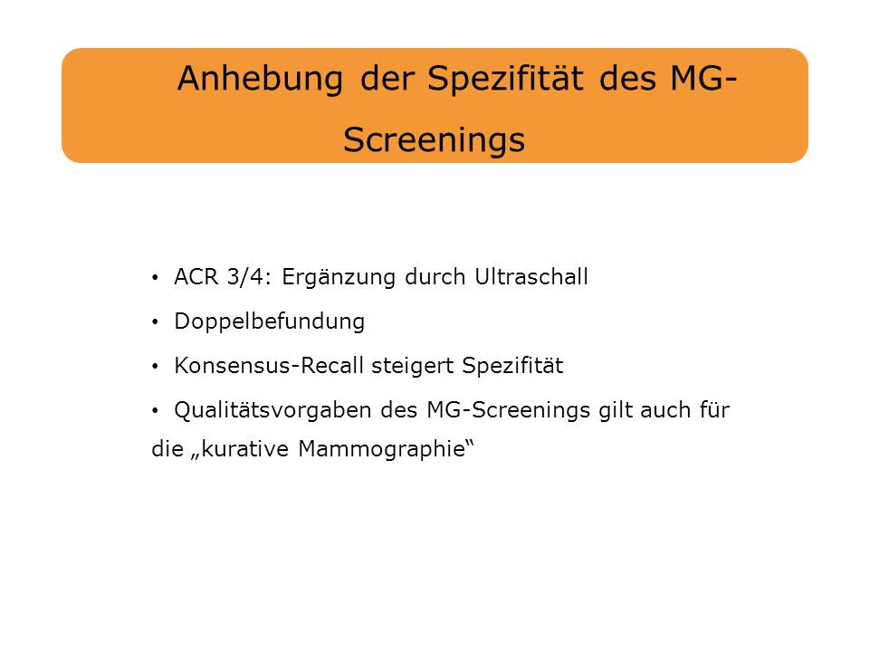 Anhebung der Spezifität des MG-Screenings