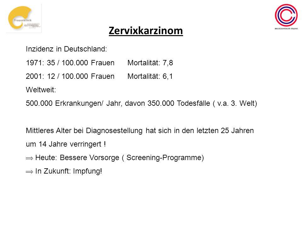 Zervixkarzinom Inzidenz in Deutschland: