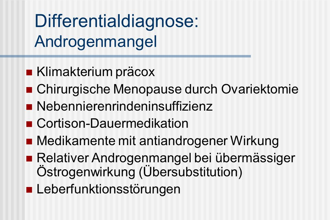Differentialdiagnose: Androgenmangel