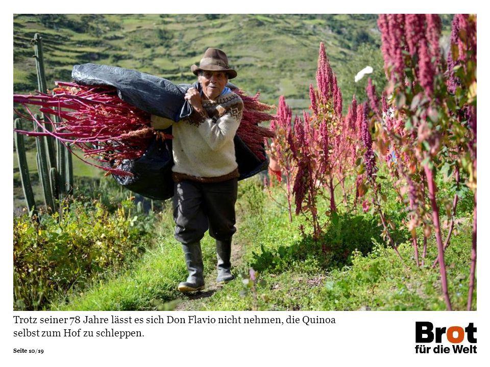 Trotz seiner 78 Jahre lässt es sich Don Flavio nicht nehmen, die Quinoa selbst zum Hof zu schleppen.