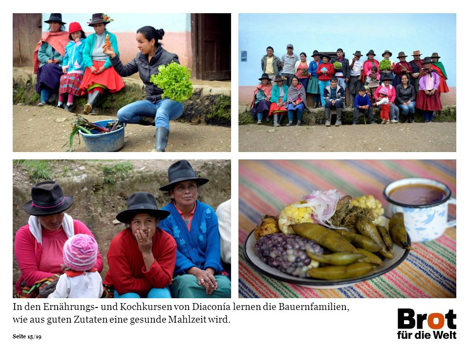 In den Ernährungs- und Kochkursen von Diaconía lernen die Bauernfamilien, wie aus guten Zutaten eine gesunde Mahlzeit wird.